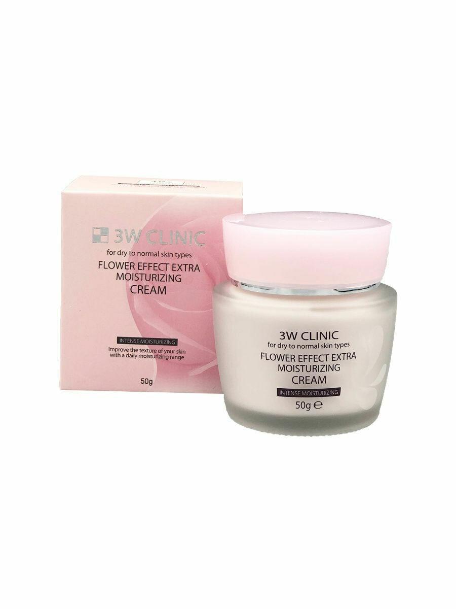 3W Clinic Крем для лица с целебными цветочными экстрактами Flower Effect Extra Moisturizing Cream