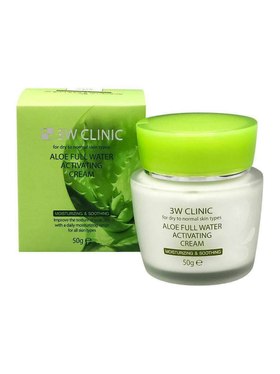 3W Clinic Увлажняющий крем для лица с экстрактом алоэ Aloe Full Water Activating Cream