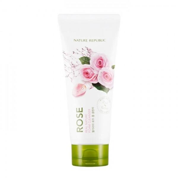 Nature Republic Real Nature Rose Foam Cleanser - Пенка для умывания с экстрактом розы 150 мл