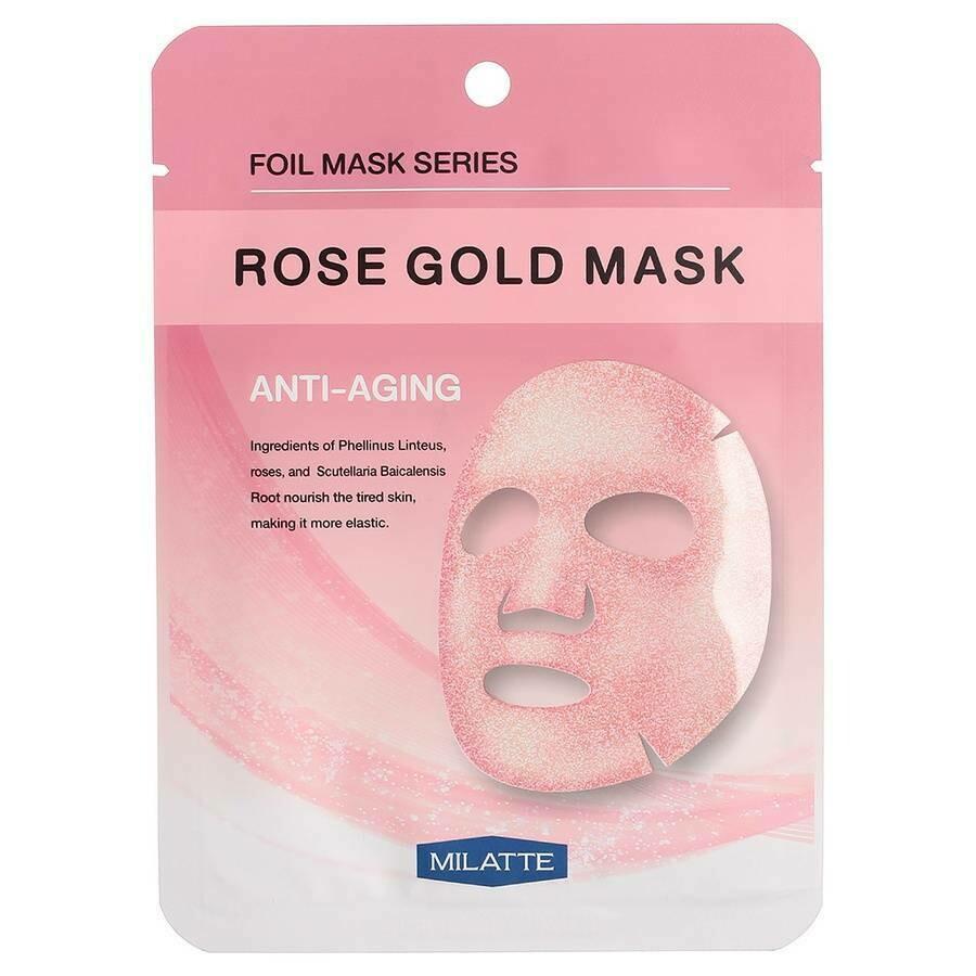 Маска на тканевой основе для лица антивозрастная Rose Gold Mask Anti-Aging MILATTE 23 мл