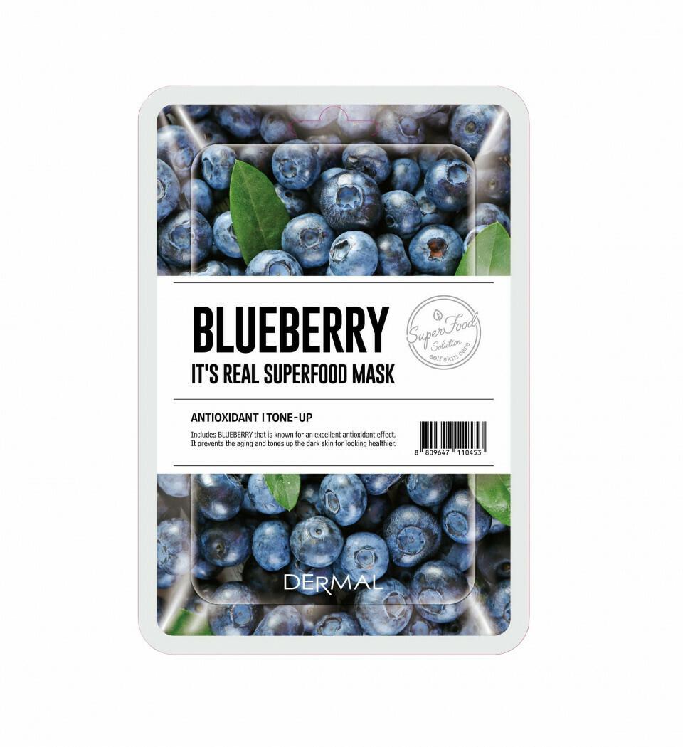 Тканевая маска для лица Dermal Its Real Superfood Blueberry 25 мл