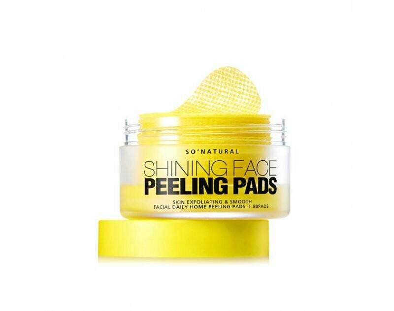 Пилинг-пэды с витамином С So'Natural Shining Face Peeling Pads 80 шт
