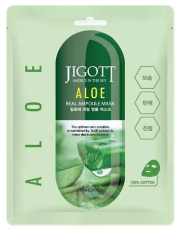 Jigott Тканевая маска с Алоэ вера Aloe Real Ampoule 27 мл