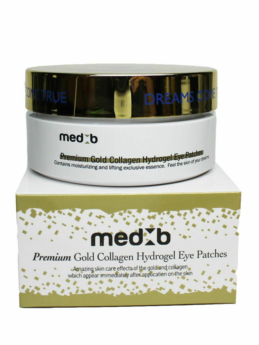 Гидрогелевые патчи для глаз с золотом и коллагеном Med B Premium Gold Collagen Hydrogel Eye Patch 90 мл