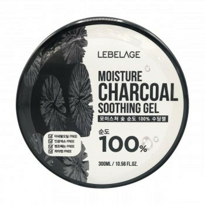 Гель с древесным углём Lebelage Moisture Charcoal 100% Soothing Gel 300 мл
