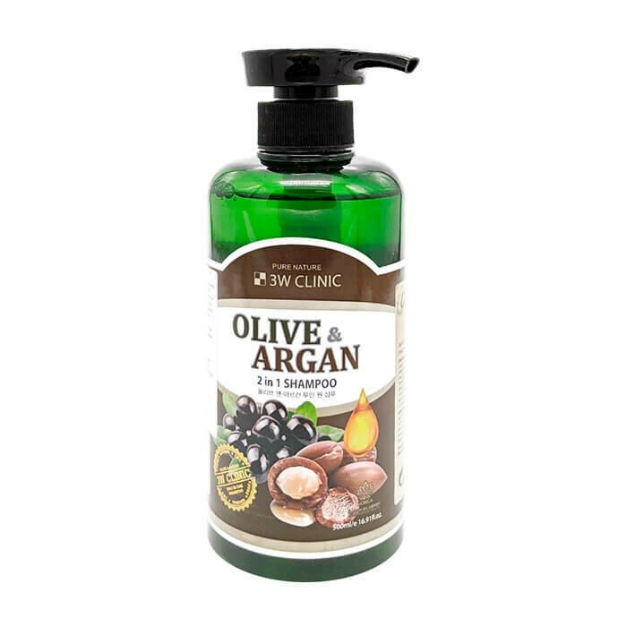 Шампунь для волос 3W Clinic Olive & Argan 2 in 1 Shampoo 500 мл
