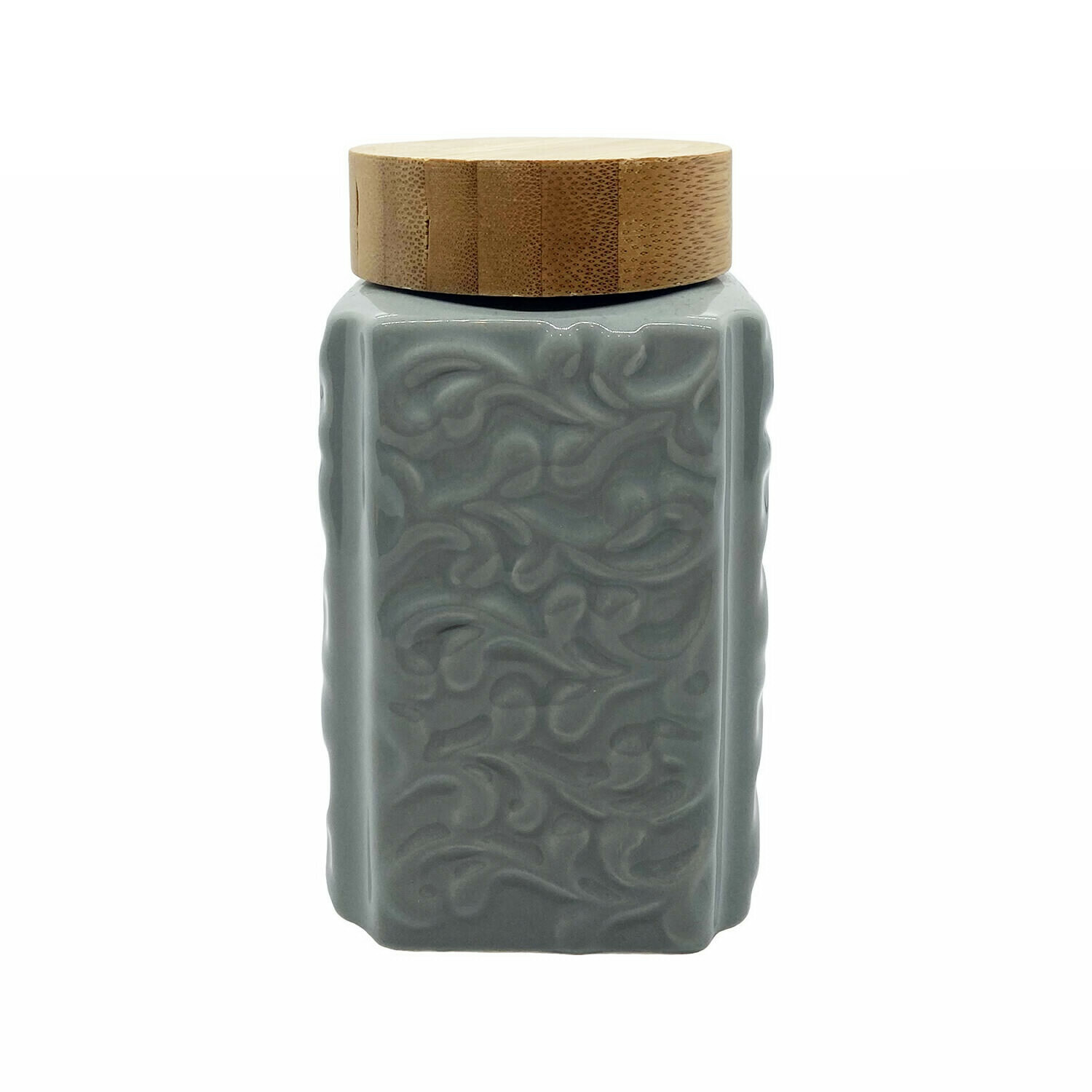 Blue Cube Ceramic Holder With Bamboo Lid