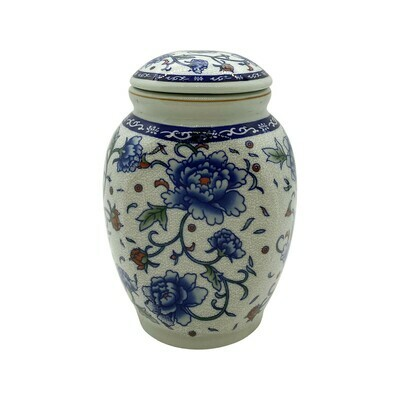 Ceramic Japanese Blue Flowers Tea Holder With Lid