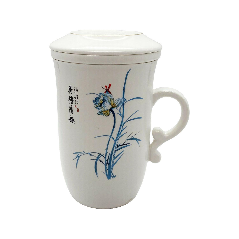 Blue Flower Infuser Tea Mug With Lid 7oz