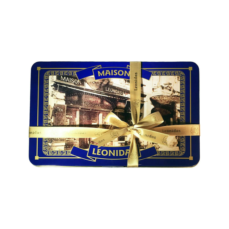 Leonidas Assorted Chocolate in Modern Deep Blue Metal Gift Tin 0.6oz Belgium