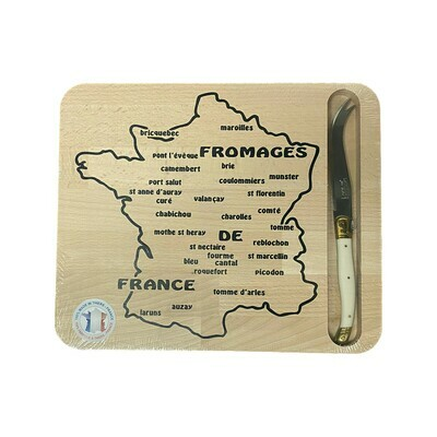 Jean Dubost Map of French Cheeses Cutting Board & Cheese Knife France