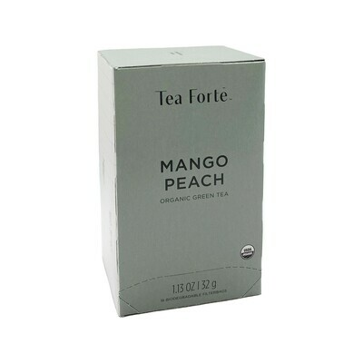 Tea Forte Mango Peach 16 Biodegradable Filterbags Germany 1.13oz