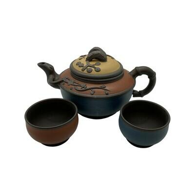 Tri Color Set Tea Pot w/2cups 17.5oz