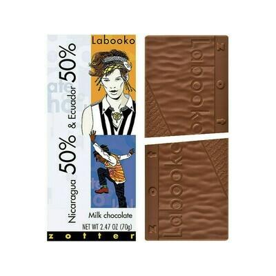 Zotter Nicaragua 50% & Ecuador 50% Milk Chocolate Austria 2.47oz