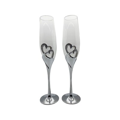 Wedding Champagne Glasses w/Swarovski 2pc
