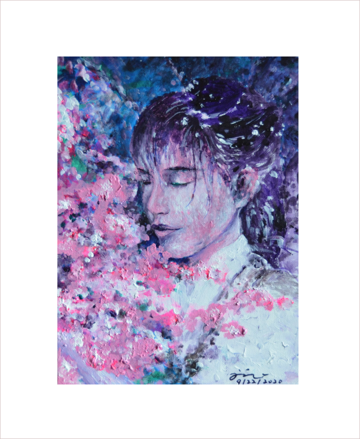 Original Painting on Sale: Girl and Flower