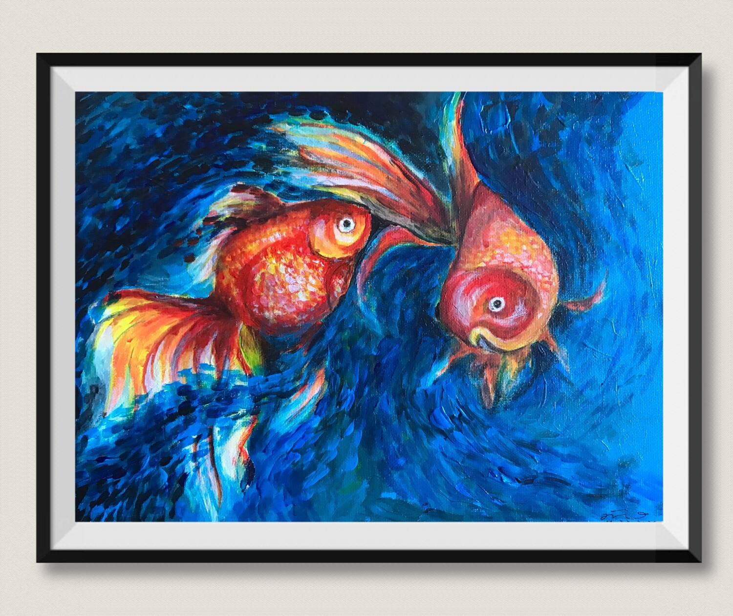 Original Painting on Sale:Gold Fish
