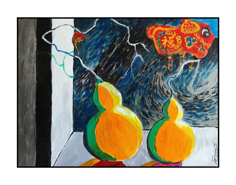 Original Painting on Sale:Crazy World, Still Life