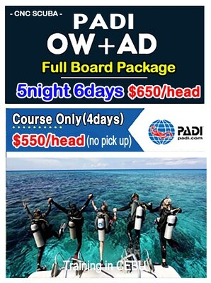 PADI OPENWATER & ADVANCE PACKAGE