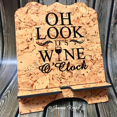 """Tablet / Cookbook Stand - """"It's Wine O'Clock"""""""