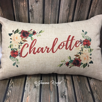 "Personalized Floral Lumbar Pillow - 12"" x 20"""