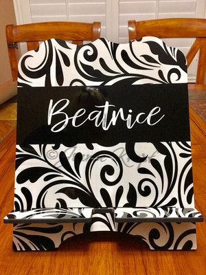 Tablet / Cookbook Stand - Personalized Black Swirls