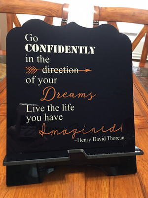 """Tablet / Cookbook Stand - """"Go Confidently - Thoreau Quote"""""""