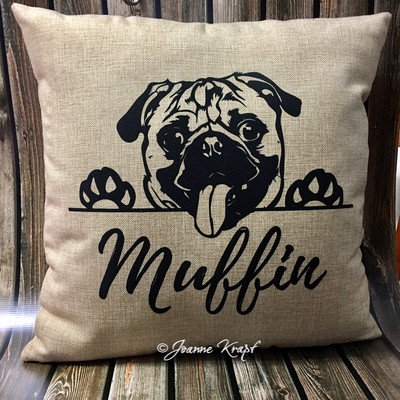 Puppy Square Pillow - (Personalized)