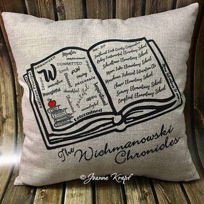 School Book Square Pillow - (Personalized)  (great for teachers)