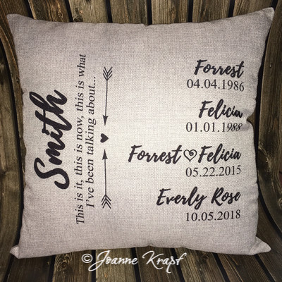 Family Personalized Square Pillow - Includes Dates