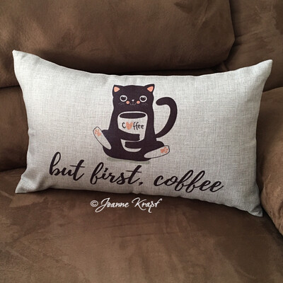 "But First Coffee  with Cat Lumbar Pillow - 12"" x 20"""