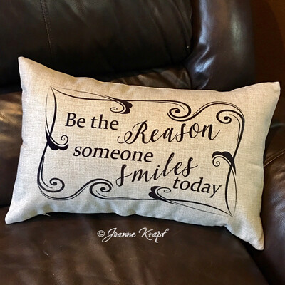 """Be The Reason Someone Smiles Today Lumbar Pillow - 12"""" x 20"""""""