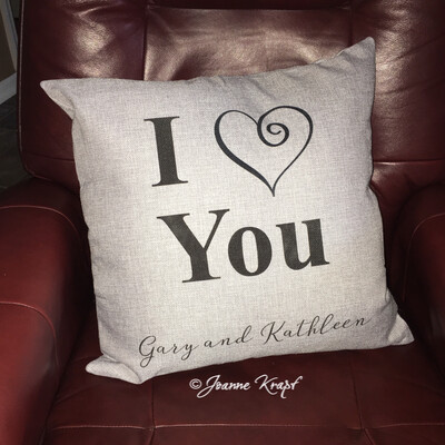 I ❤️ You Square Pillow - (Personalized)