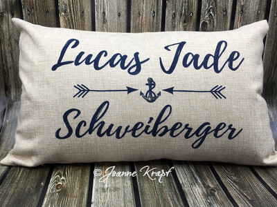 """New Baby Lumbar Pillow - 12"""" x 20""""  (Personalized)"""