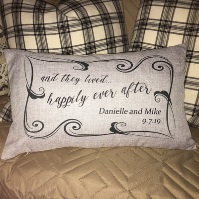 """Happily Ever After - Personalized Lumbar Pillow - 12"""" x 20"""""""