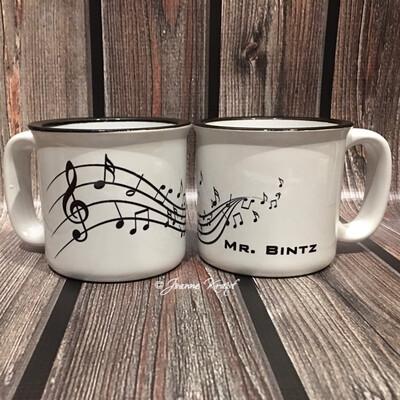 Ceramic Camp Style Mug - Musical Notes