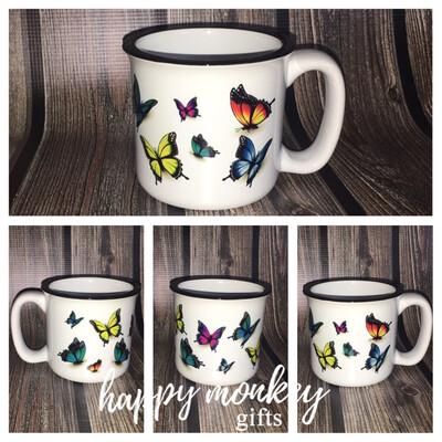 Ceramic Camp Style Mug - Butterflies