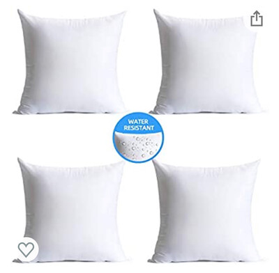"""Water Resistant Square Pillow Insert (20"""" x 20"""" - Fits 18"""" x 18"""" shams)"""