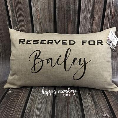 """Reserved For ____ Lumbar Pillow - 12"""" x 20"""""""