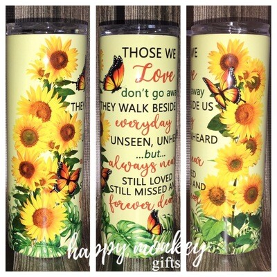 Love Walks Beside Us with Sunflowers Tumbler
