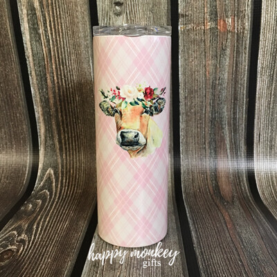 Matilda The Cow With Flowers Tumbler