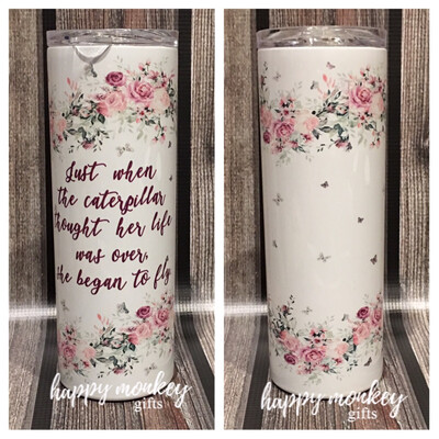 She Began To Fly With Flowers Tumbler