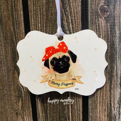 Merry Pugsmas Ornament