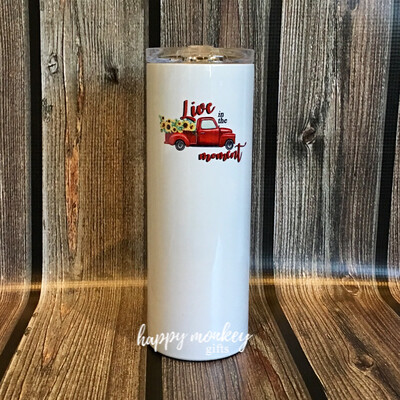 Live In The Moment Red Truck Tumbler