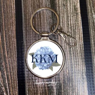 Personalized Blue Hydrangea Metal Keychain