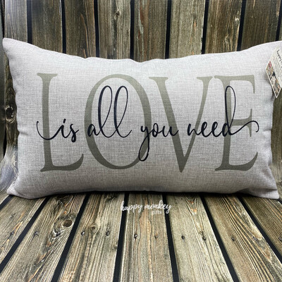 """All You Need Is Love Lumbar Pillow - 12"""" x 20"""""""