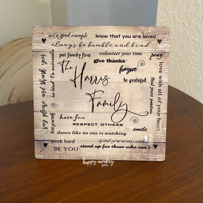 """Family Personalized - Inspirational Sign - 5"""" x 5"""" Aluminum with Easel"""