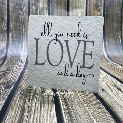 """All You Need Is Love - Inspirational Sign - 5"""" x 5"""" Aluminum with Easel"""