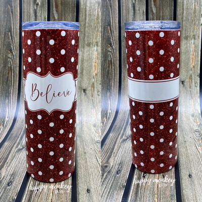 Red Glitter Personalized Tumbler