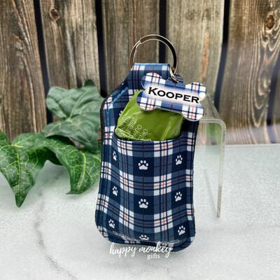 Blue Plaid Dog Poop Bag Holder With Custom Dog Tag - Free Shipping